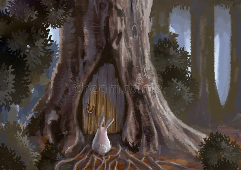 Karikaturillustration des netten weißen Kaninchenhäschens steht in f stock abbildung