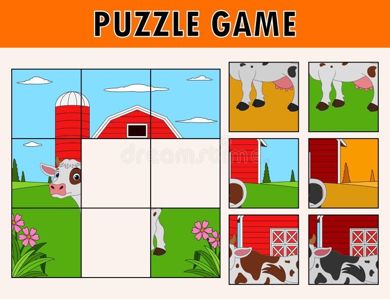 Karikaturillustration des pädagogischen Puzzlen für Kinder mit nettem KuhVieh lizenzfreie abbildung