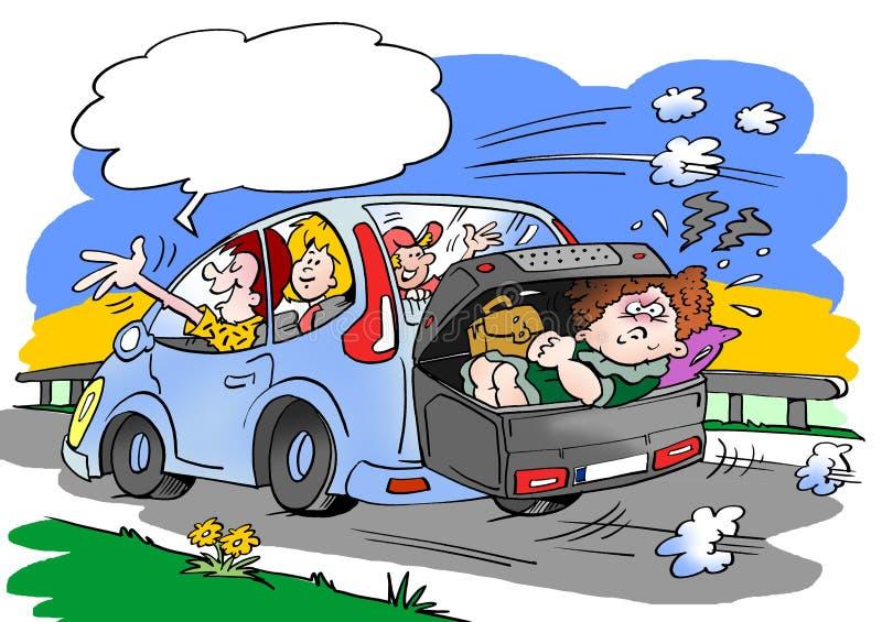 Karikaturillustration einer Familie auf einer Autoreise Schwiegermutter gelegt in den Gepäckdach-Kastenkoffer lizenzfreie abbildung