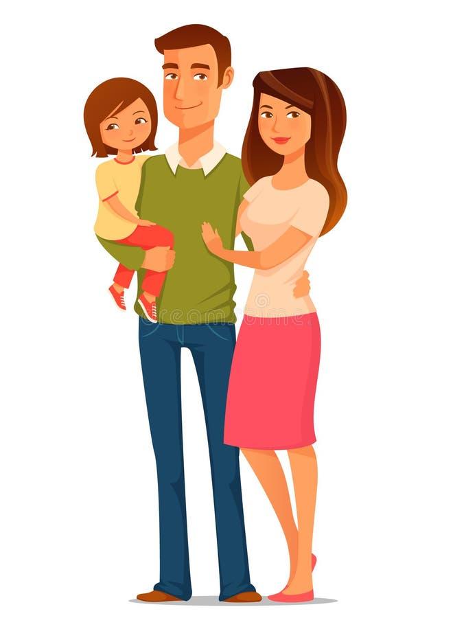Karikaturillustration einer glücklichen jungen Familie lizenzfreie abbildung