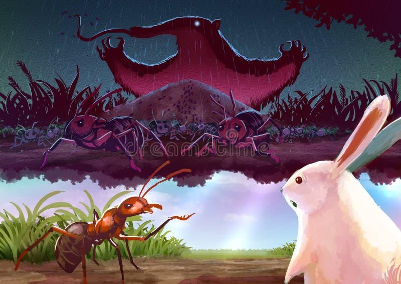 Karikaturillustration einer roten Ameise, die Geschichte zum weißen Kaninchen erzählt vektor abbildung