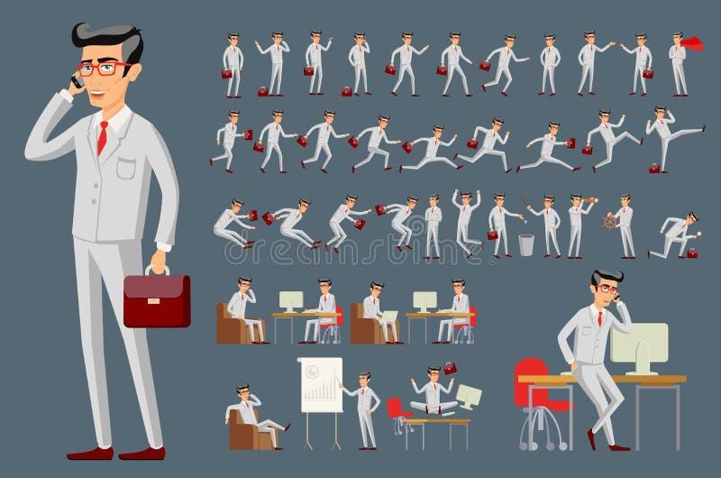 Karikaturillustration eines hübschen jungen Geschäftsmannes im verschiedenen Haltungsvektor lizenzfreie abbildung