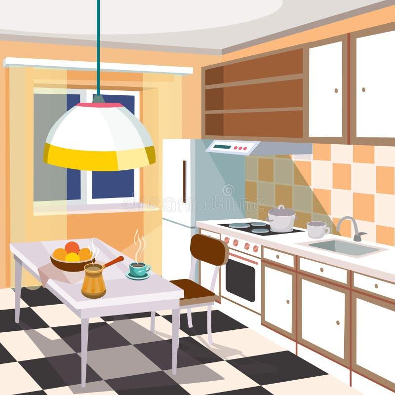 Karikaturillustration eines Kücheninnenraums vektor abbildung