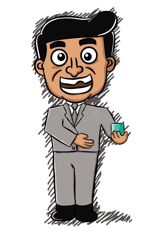 Karikaturillustration eines Verkäufers, der ein Produkt anbietet Vektor ch stock abbildung