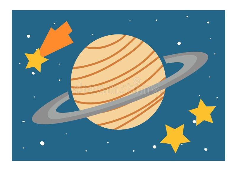 Karikaturillustration f?r Kinder Pädagogisches Plakat über Raum Planet Saturn und Sterne vektor abbildung