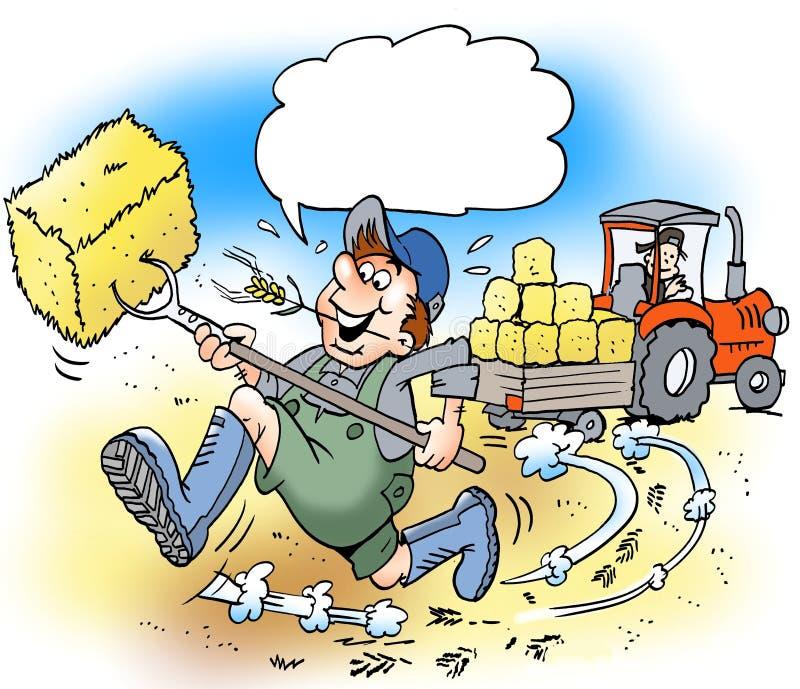Karikaturillustration glücklichen Landwirts A mit großen Stiefeln vektor abbildung