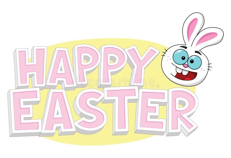 Glücklicher Ostern-Text mit Osterhasen und gelbem Ei lizenzfreies stockfoto