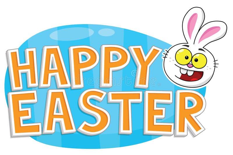 Glücklicher Ostern-Text mit Osterhasen und blauem Ei lizenzfreie stockbilder