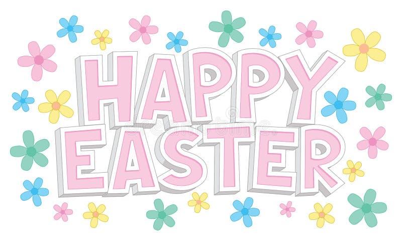 Glücklicher Ostern-Text mit Blumen stockfoto