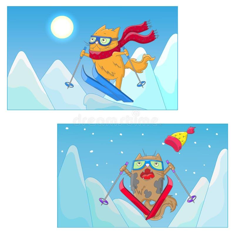 Karikaturillustration mit lustigen KatzeSkifahrern auf dem Hintergrund von Berglandschaft vektor abbildung