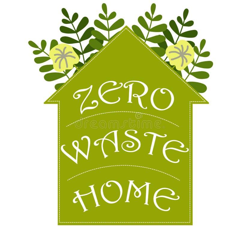 Karikaturillustration mit null überschüssigem Haus Vektorillustrations-Logonatur Abfallwiederverwertung Gesundheitswesenvektor stock abbildung