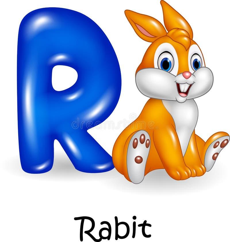 Karikaturillustration von r-Buchstaben für Kaninchen-Karikatur vektor abbildung