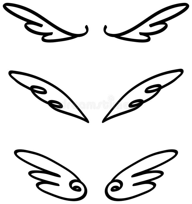 Karikaturillustrationsgekritzel des Engels oder der Fee beflügelt Ikonenskizze stock abbildung