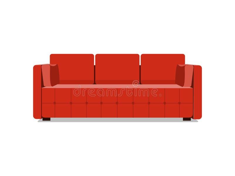 Karikaturillustrationsvektor des Sofas und der Couch roter bunter Bequemer Aufenthaltsraum für Innenarchitektur lokalisiert auf W stock abbildung