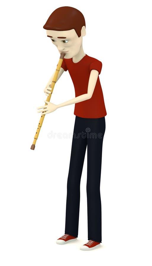 Karikaturjunge, der auf indischer Flöte spielt lizenzfreie abbildung