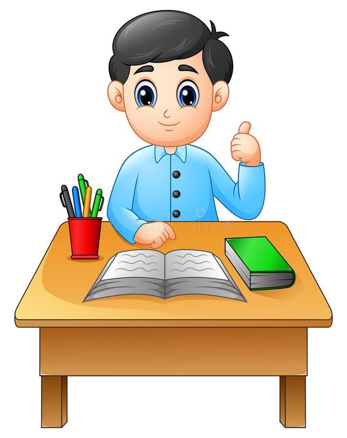Karikaturjunge, der bei Tisch Daumen aufgeben lernt vektor abbildung