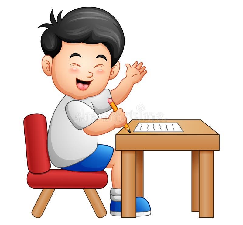 Karikaturjunge, der bei Tisch Daumen aufgeben lernt stock abbildung