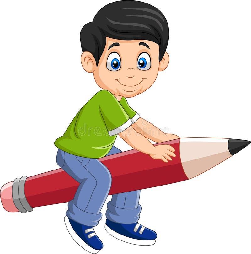 Karikaturjunge, der einen fliegenden Bleistift reitet vektor abbildung