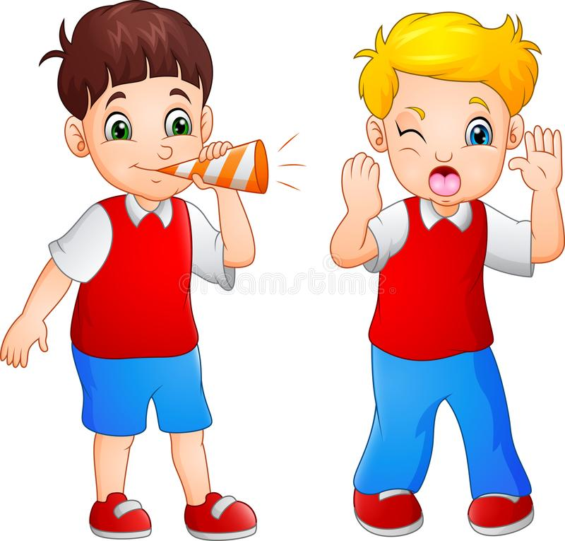 Karikaturjunge, der am kleinen Jungen in einer Trompete durchbrennt vektor abbildung