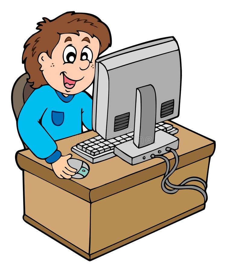 Karikaturjunge, der mit Computer arbeitet vektor abbildung