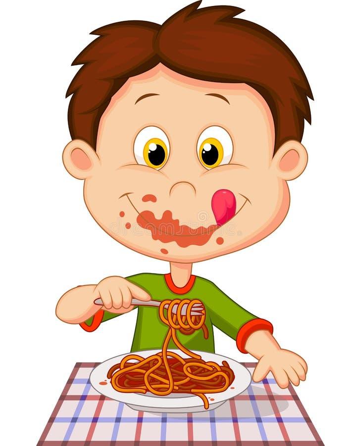 Karikaturjunge, der Spaghettis isst vektor abbildung