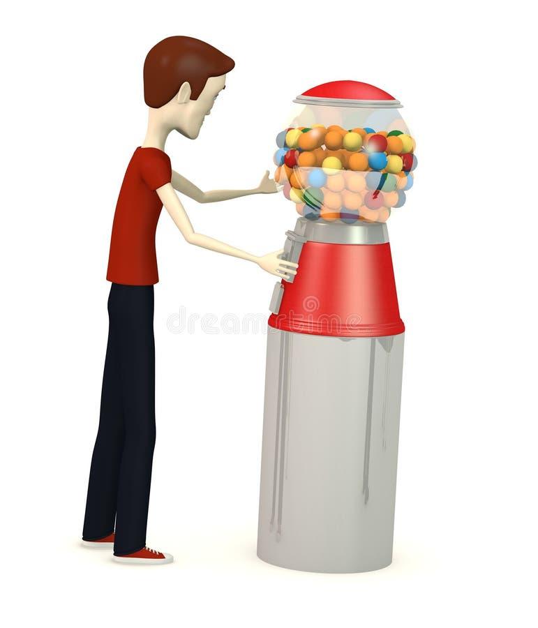 Karikaturjunge mit bubblegum Maschine vektor abbildung