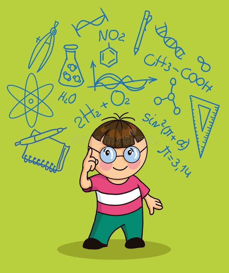 Karikaturjunge mit Ikonenbildung lizenzfreie abbildung