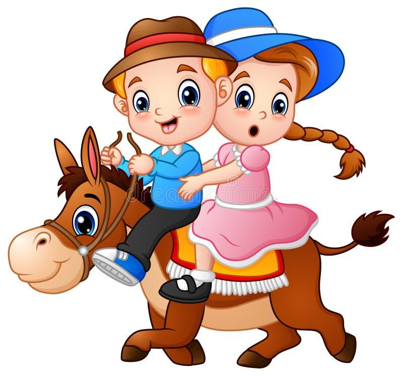 Karikaturjunge und -mädchen, die ein Pferd reiten stock abbildung