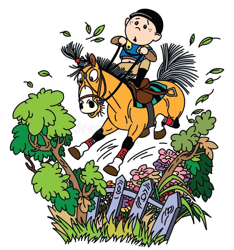 Karikaturjungen-Trainingspony zum Springen über Zaun lizenzfreie abbildung