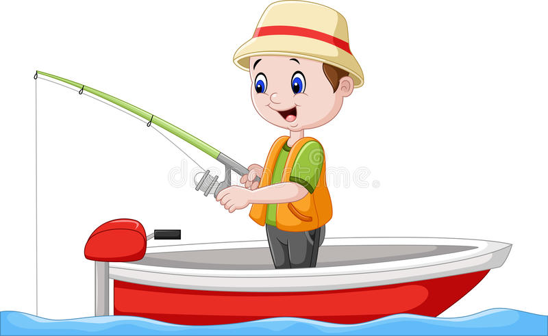 Karikaturjungenfischen auf einem Boot vektor abbildung
