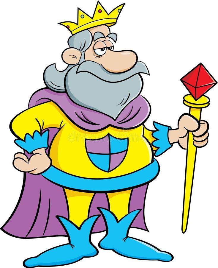 Karikaturkönig, der ein Zepter hält stock abbildung