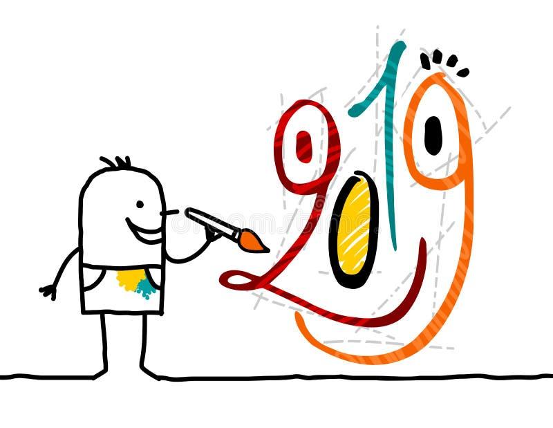 Karikaturkünstler, der ein Gesicht mit 2019 lustiges Graffiti malt stock abbildung
