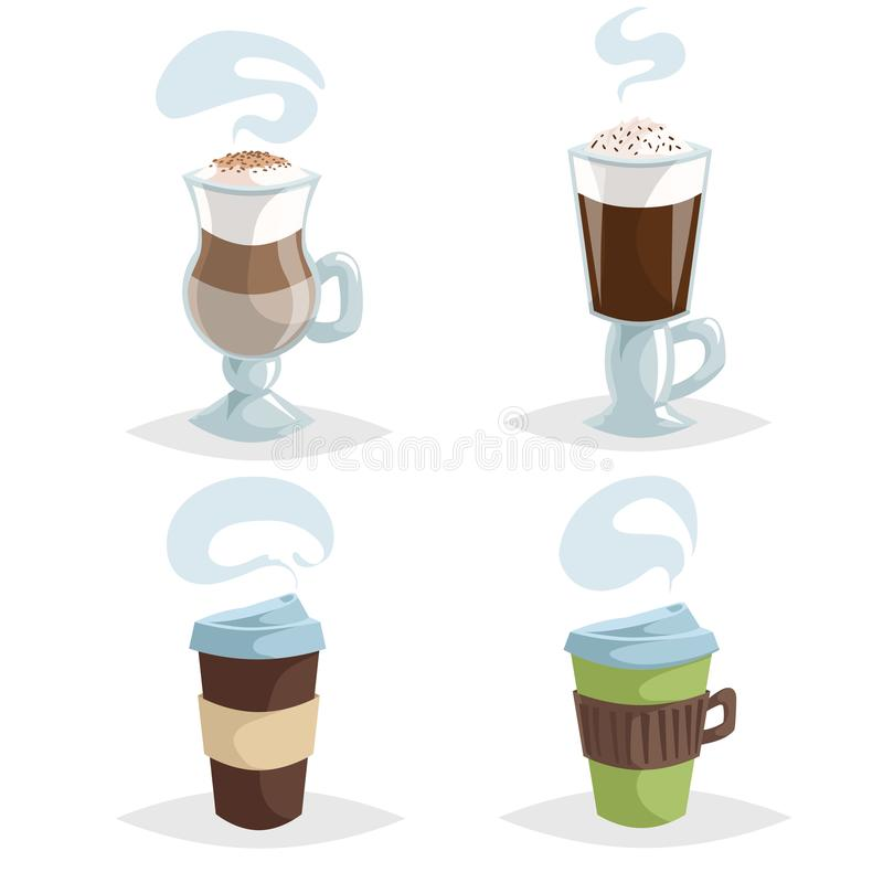 KarikaturKaffeetassen oder Schalensatz Sammlung bunte Kaffeeikonen des modischen Entwurfs Irische Creme, Cappuccino und Schalen w lizenzfreie abbildung