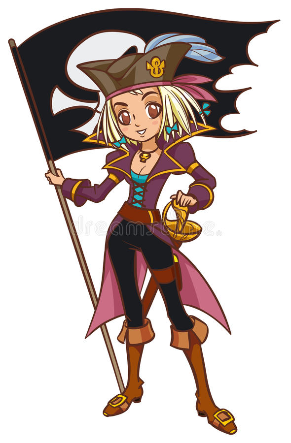 Karikaturkapitän-Piratenmädchen mit Jolly Roger lizenzfreie abbildung