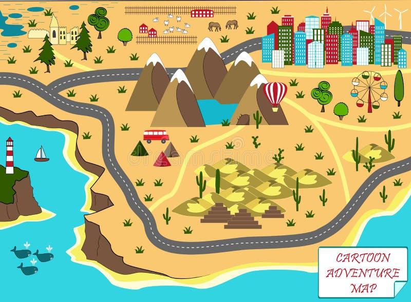 Karikaturkarte mit Meer, Bergen, Wüste und Stadt vektor abbildung