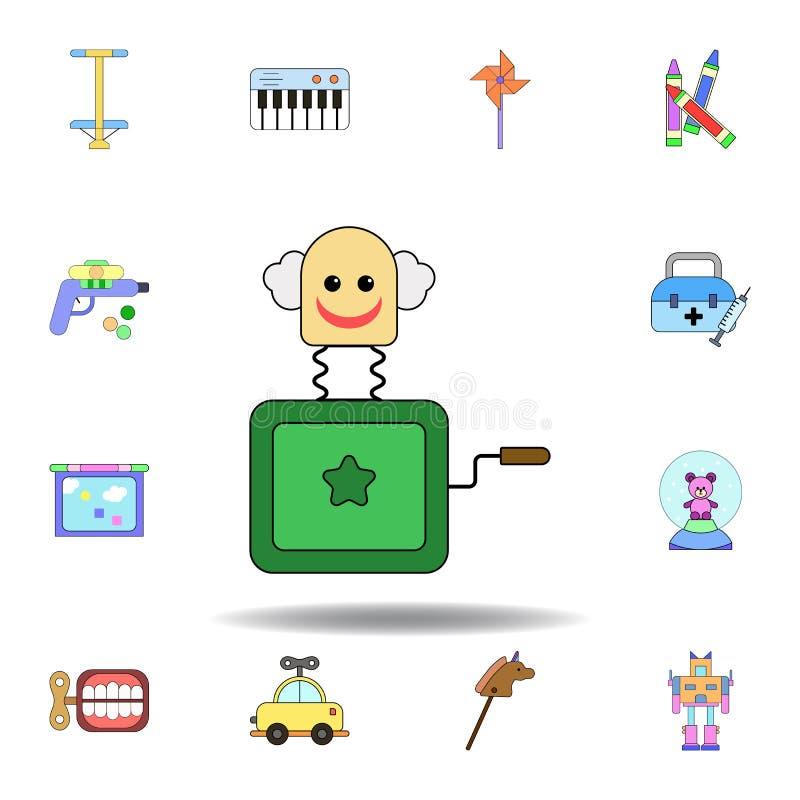 Karikaturkasten in farbiger Ikone der Steckfassung Spielzeug stellen Sie von den Kinderspielwaren-Illustrationsikonen ein Zeichen lizenzfreie abbildung