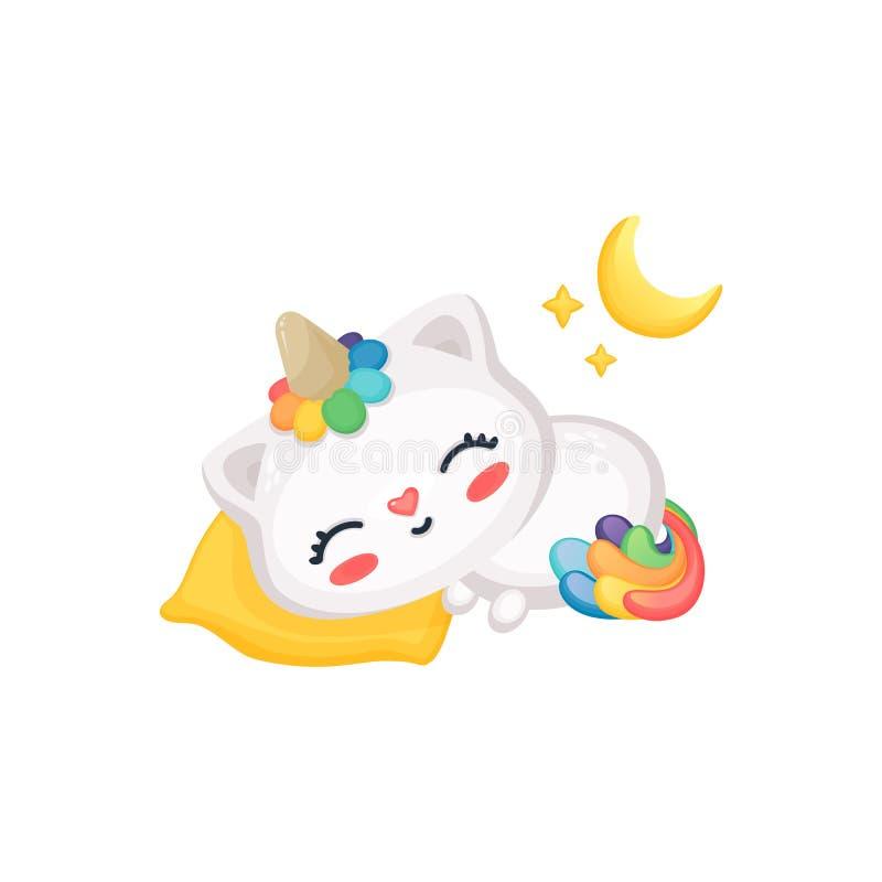 Karikaturkatzen-Einhornschlafen, nettes lustiges Kätzchen mit Regenbogenhorn und Endstück, das auf Kissen unter Mond und Sterne e stock abbildung