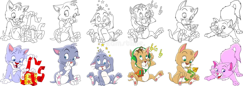 Karikaturkatzen-Kätzchensatz lizenzfreie abbildung