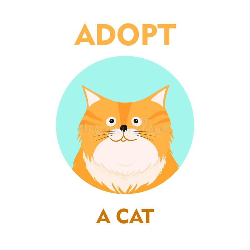 Karikaturkatzenillustrations-Ikonendesign des Vektors flaches Nehmen Sie mich an Hilfsobdachloses Tierkonzept Getrennt auf weißem lizenzfreie abbildung