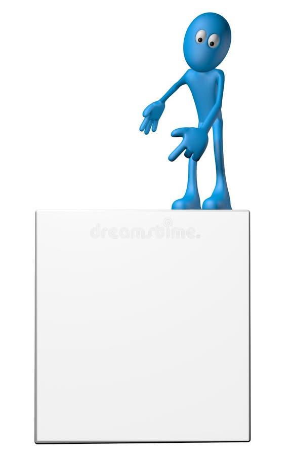 Karikaturkerl auf einem Brett stock abbildung