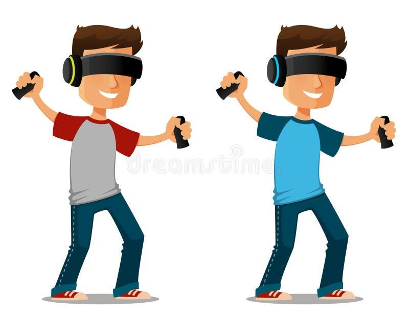 Karikaturkerl, der Gläser der virtuellen Realität verwendet stock abbildung