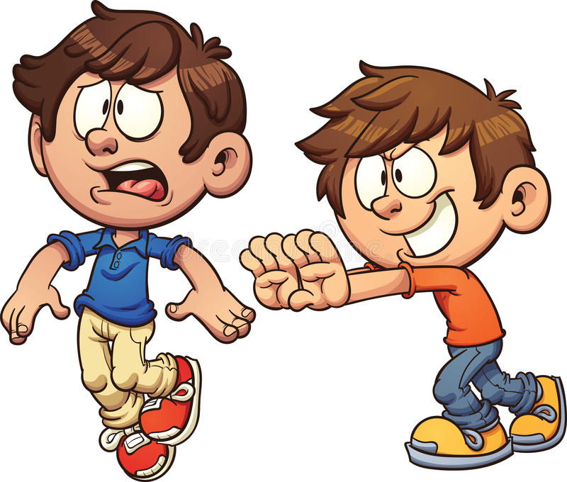 Karikaturkind, das ein anderes Kind schiebt lizenzfreie abbildung