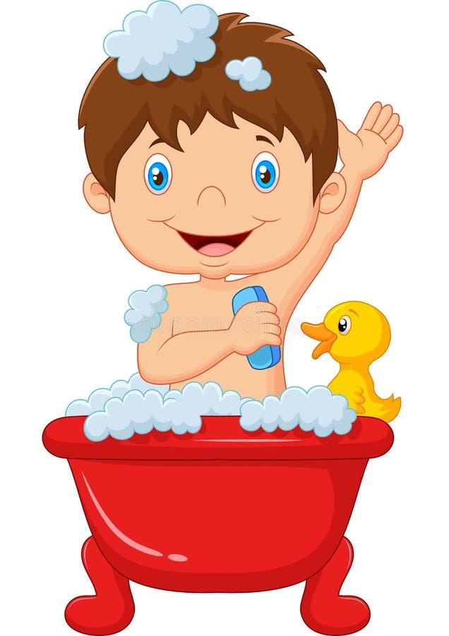 Karikaturkind, das ein Bad nimmt lizenzfreie abbildung