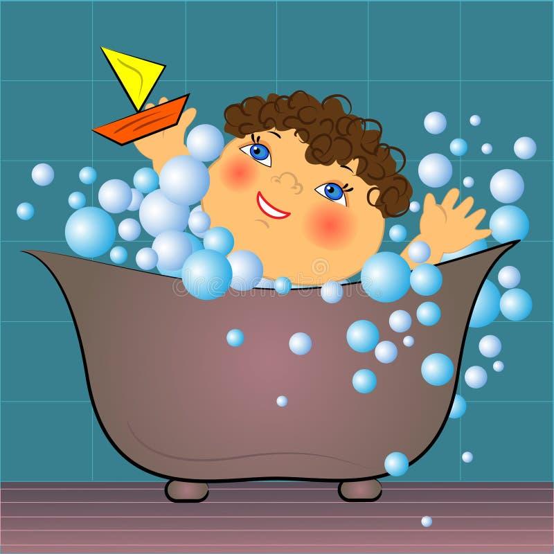 Karikaturkind im Bad mit Luftblasen   lizenzfreie abbildung