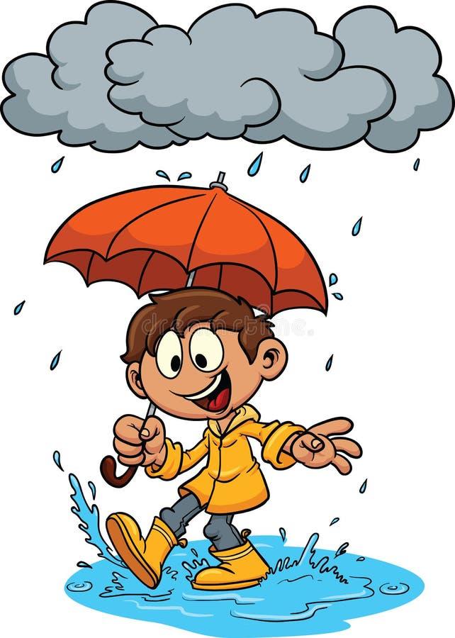 Karikaturkind mit Regenschirm stock abbildung