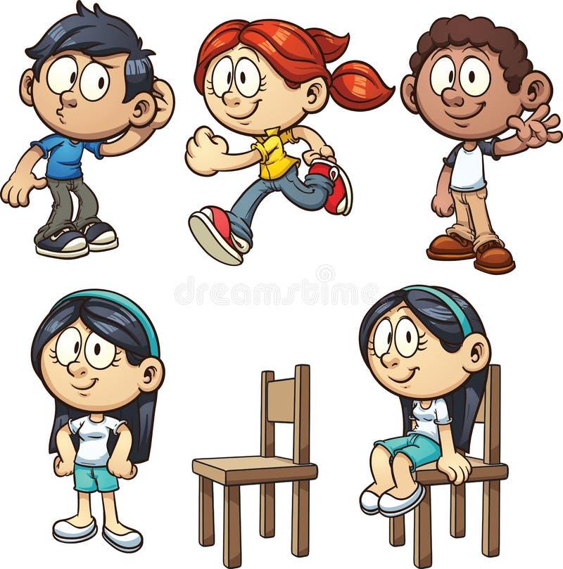 Karikaturkinder stock abbildung