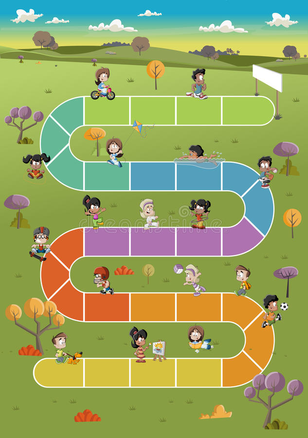 Karikaturkinder, die über Weg auf dem grünen Park spielen stock abbildung