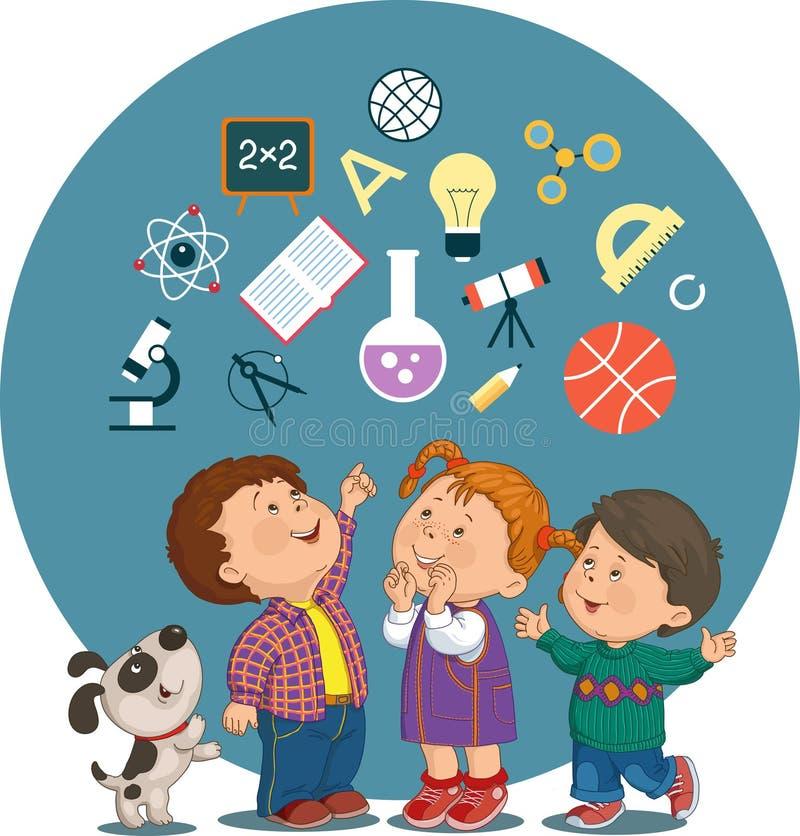 Karikaturkinder mit Bildungsikonen stock abbildung