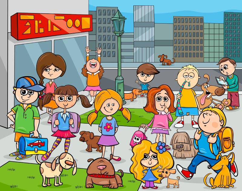 Karikaturkinder mit Hunden in der Stadt lizenzfreie abbildung