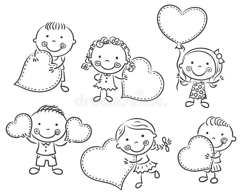 Karikaturkinder mit leeren Zeichen in Form von Herzen lizenzfreie abbildung